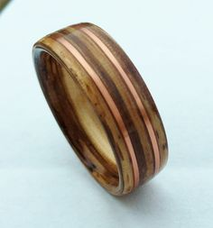 Bentwood Ring Zebrawood and Copper Wood by MetalForestDesigns