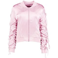 Boohoo Cynthia Ruched Satin Bomber Jacket ($21) ❤ liked on Polyvore featuring outerwear, jackets, flight jackets, satin duster coat, pink bomber jackets, pink jacket and flight bomber jacket