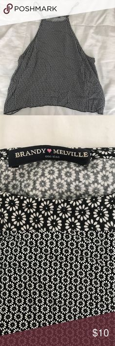 High neck brandy tank Floral print, navy/white, Brandy Melville Brandy Melville Tops Tank Tops