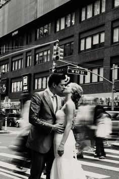 Romance in the city... I like this shot for a wedding photo with the city speeding by behind.