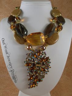 Cowgirl Necklace Set - Chunky Brown Agate and Jasper with Crystal Pendant - Western Statement Piece - pinned by pin4etsy.com