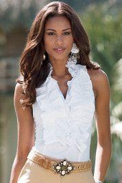 love, love this sleeveless ruffle blouse