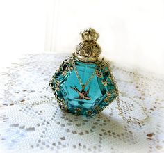 Teal Perfume Bottle Glass Necklace Filigree Wrapped With Bird.