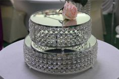 Party Mirror Cake Stand Romantic Wedding Crystal Holder Group Acrylic /Birthday Decorations