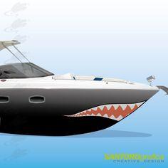 adesivo per barca - dente di squalo.