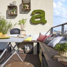 Réaliser une banquette en bois composite pour votre balcon. #DIY #balcon #boiscomposite