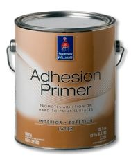 "And I quote: Adhesion Primer    Got a hard, slick surface to paint? Our Adhesion Primer is the answer. It bonds tightly to interior and exterior surfaces typically considered ""unpaintable"" – like ceramic wall tile, round PVC piping, plastics, laminate, glass and fiberglass.  Another idea for my daughter."