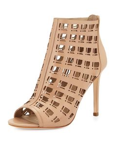 X2VJR Charles David Iva Open-Toe Leather Bootie W/Cutouts, Nude