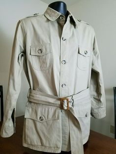 EUC L VINTAGE Mill Valley BANANA REPUBLIC BELTED SAFARI MILITARY JACKET COAT #BananaRepublic #BasicJacket