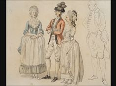 "From the Society of the Cincinatti: ""Among the luminaries Sandby observed at the London encampments were the noted author Fanny Burney and her sister Susanna, whom he sketched as they chatted with their cousin, a dashing military officer. By Paul Sandby, 1780 The Robert Charles Lawrence Fergusson Collection"""