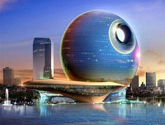 Baku Azerbaijan Death Star Lunar Hotel.