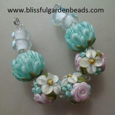 BLISS Spring Breeze Rose Floral Abundance w Peonies Lampwork Bead Mix