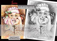 PRINTABLE, GRAYSCALE, Instant download, Digi stamp, Coloring page, Fairy, Art of Janna Prosvirina Coloring Books, Coloring Pages, Create Collage, Fairs And Festivals, Fairy Art, Digi Stamps, Collage Sheet, Craft Fairs, Craft Projects