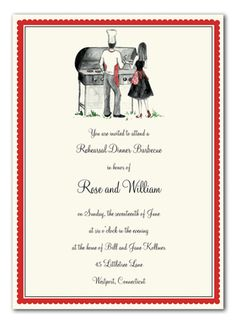 A couple's cook out invitation! It has a simple scalopped red border with a couple cooking together in front of a grill. It's a great invitation for a barbecue, engagement party or rehearsal dinner! This stylish design is printed on premium quality white cardstock and white envelopes are included.