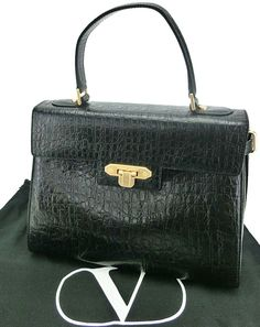 """NEW ARRIVAL: VALENTINO GARAVANI. ITALY. BLACK EMBOSSED CROC LEATHER KELLY STYLE HANDBAG. 11""""X9"""". MINT VINTAGE. BEAUTIFUL. AVAILABLE NOW IN STORE AT pilgrim 70 orchard street new york city Chanel Bags, Chanel Handbags, Chanel Jewelry, Valentino Garavani, Pilgrim, Vintage Japanese, Crocs, Dior, Vintage Outfits"""