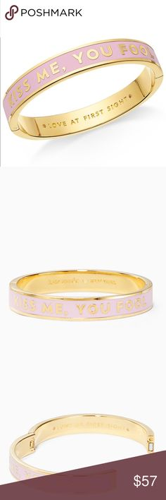 New Kate Spade 'Love At First Sight' Bangle! This elegant bangle in gold and pink with the popular 'Kiss Me You Fool' wording, celebrates love at first sight. Gold plated with enamel fill and a hinged closure, let it remind you of when it all started...  kate spade Jewelry Bracelets