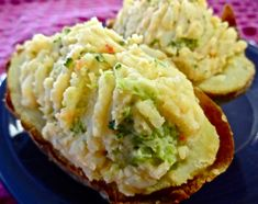 #Vegan #Potatoes Baked and Stuffed - filling and flavorful without the fat.