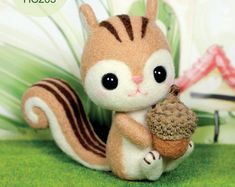 Needle Felting DIY Handmade Wool Kit Acorn squirrel - English Craft Kit (English…