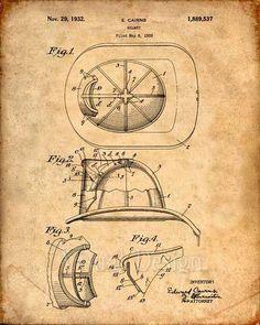Fire Helmet Patent Art Print - Patent Poster - Firetruck - Fireman Helmet
