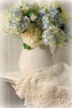 lace and hydrangeas