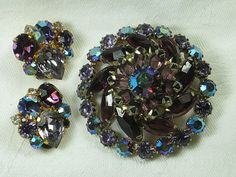 Vintage blue and purple rhinestone demi Parure brooch and earrings set...  absolutely gorgeous! (LavenderGardenCottag on etsy)