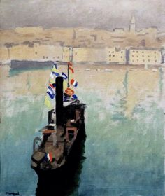 dionyssos: The decked Boat , Marseille , Cognac Museum Albert Marquet Year 1916 French Paintings, Great Paintings, Landscape Paintings, Henri Matisse, Bordeaux, Rio Sena, Statues, Raoul Dufy, France Art