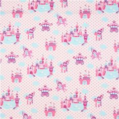 white princess fabric unicorn castle Michael Miller - Fairy Tale Fabric - Fabric - kawaii shop modeS4u