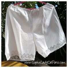 www.inselly.com/SophieLadyDeParis  Victorian lacy panties. French white cotton made . Elastic band added later on. Gorgeous Monogrammed bottom with cut works and filet lace roses design . Good vintage condition. Medium /Large Waist 30 to 42 inches Tall 18 inches Leg circumference 22  inches Free Shipping  Inselly purchase link on my bio. , , , , , , ,