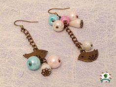 Vintage Pastel Bird Earrings Handmade By by NovemberRaspberries