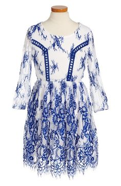 Free shipping and returns on Trixxi Lace Dress (Big Girls) at Nordstrom.com. Beautiful royal blue embroidery and a scalloped hemline detail a whimsical lace dress perfect for special occasions.