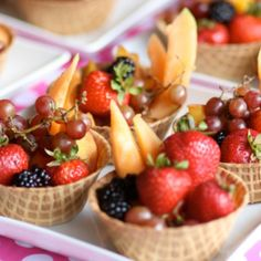 Waffle cone fruit bowls I made for a summer snack!