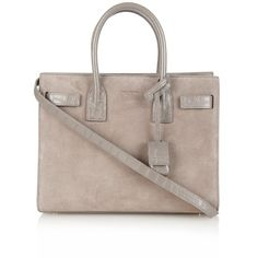 Saint Laurent Sac De Jour baby suede tote (1.490.120 CLP) ❤ liked on Polyvore featuring bags, handbags, tote bags, purses, sac, ysl, grey, hand bags, expandable tote and gray suede handbag