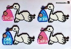 Storks delivering babies hama perler beads - Custom order and original pattern by PixelenaMV on deviantART
