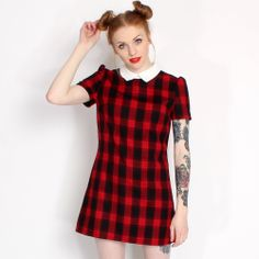 Hearts & Bows Black & Red Ivy Checked Pointed Collar Dress