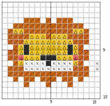 ワンポイント図案フリーチャート動物13141516