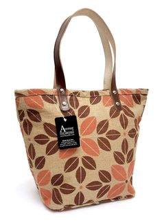 73d0b7c3e384 Avenue By The Art File - Eco Jute Hessian Tote Shoulder Bag Orange Print  AFHB06