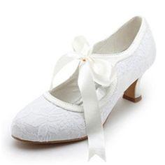 qualité supérieure mi talon fermé orteils avec de mariage de cravate de ruban chaussures de mariée