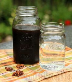 Homemade Root Beer-4 ½ C water 1 lg thumb thinly sliced ginger root 2 ½ T sarsaparilla 2 ½ T sassafras 2 ½  T licorice root 1 ½  T burdock root 1 T dried mint leaves 1 star anise pod 4 C dark brown sugar 1 T vanilla; Combine all ingredients except sugar & vanilla in saucepan; simmer 30 min. Stir in sugar & vanilla til dissolved. Simmer on low 30 min til mixture is thicker & syrupy. Strain out bits; cool. Add 1/2 C chilled syrup w 1 ½ C chilled seltzer.