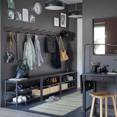 ... PINNIG Bench / Shoe Racks And Three PINNIG Rack With Three Hooks In A  Row Against A Dark Grey Wall To Create Plenty Of Storage In A Narrow Hallway .