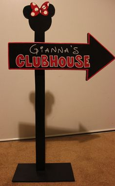 Wood Micky Mouse or Minnie Mouse Clubhouse Sign - Outdoor Post - Birthday Party Decorations. $25.00, via Etsy.