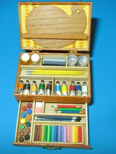 Collector Miniature 1:12  scale ARTIST SET in Box by IGMA Fellow Patricia Paul. $355.00, via Etsy.