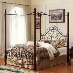 Elegant Princess Red Iron Bed With Canopy Also British Ornament Head Board And African Local Motive Bed Cover