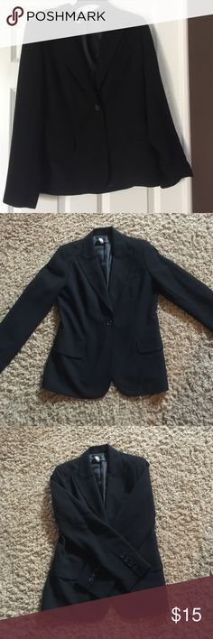 New York & Company black one button blazer New York & Company one button black 100% polyester blazer.  Two pockets in front and darts and vent in back. New York & Company Jackets & Coats Blazers