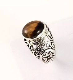 Sterling Silver Cabochon Oval Shaped Tiger Eye Filigree Ring. Size 7&1/2 #Bohemian