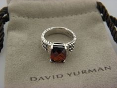 David Yurman Petite Wheaton Ring, Garnet and Diamonds  SZ 5.5 MINT
