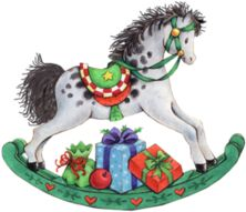 Christmas rocking horse with presents Christmas Store, Christmas Mood, Noel Christmas, Very Merry Christmas, Christmas Pictures, Simple Christmas, Vintage Christmas, Christmas Crafts, Christmas Ornaments