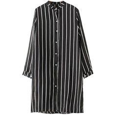 Chicnova Fashion Striped Chiffon Shirt Dress (1.740 RUB) ❤ liked on Polyvore featuring dresses, stripe dresses, t-shirt dresses, striped dress, long shirt dress and chiffon dresses