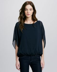Strayla Batwing Top, Navy by Alice + Olivia at Neiman Marcus.