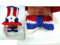 4th of July Bow Tie  Free Crochet Pattern
