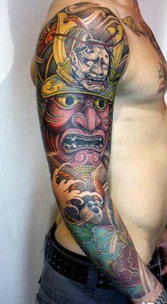 100 Japanese Samurai Mask Tattoo